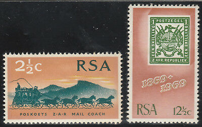 South Africa 1969 Centenary of First Stamps. Set of 2 SG297-298 Mint PA14