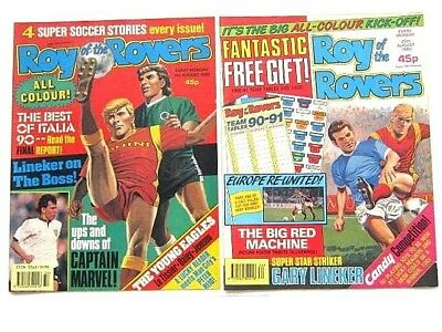 2 x ROY of the ROVERS COMICS. AUGUST 1990. HOT SHOT HAMISH, GOALMOUTH, PLAYMAKER