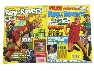 2 x ROY of the ROVERS COMICS. SEP & OCT 1990. GOALMOUTH, PLAYMAKER, HOT SHOT etc