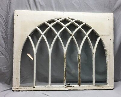 Antique Gothic Arched Window Sash Shabby Vintage Old Chic 32X41 53-19C