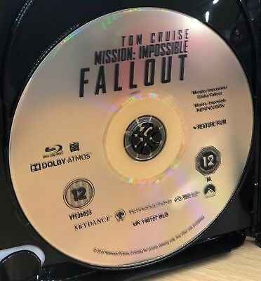 MISSION: IMPOSSIBLE - FALLOUT Blu Ray Disc Only, No box Included - Brand New