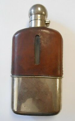Vintage Glass Leather Silver Plate Liquor Hip Flask Detachable Bottom Cup Empty