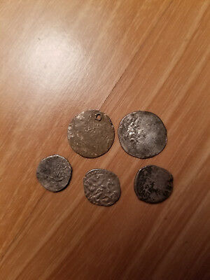 Silver Ottoman Middle East Old Coins Lot Of 5
