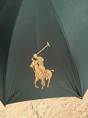 Vintage NWT Ralph Lauren Polo Umbrella Golf Hunter Green Curved Handle Brass Tip