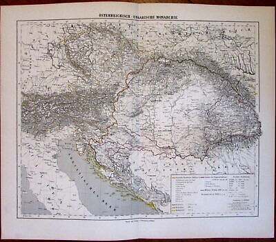 Austro-Hungarian Empire Austria Hungary 1874 Flemming detailed old map