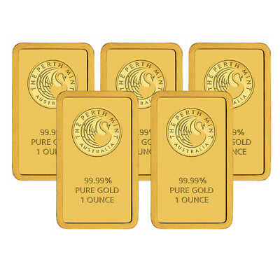 Lot of 5 Perth Mint 1 oz .9999 Gold Bars Sealed With Assay Card BANK WIRE ONLY