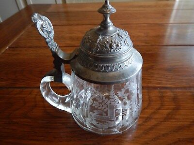 Vintage Etched Glass Stein w/Pewter lid 0.5L