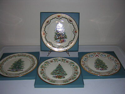 Lot of 4 Lenox Christmas Trees Around the World annual plates 1st series boxes