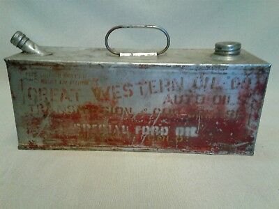 Vintage Great Western Auto Oil Co. Ford Auto Oil Can / Model A or T?