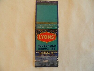New Orleans Louisiana household medicines matchcover matchbook