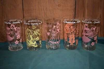 Vintage Lot of 5 WIZARD OF OZ Glass Jar SWIFT AND CO. PEANUT BUTTER
