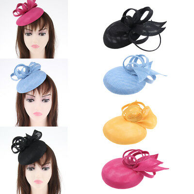 Lady Retro Feather Fascinator Derby Hat Pillbox Hat Cocktail Party Headwear