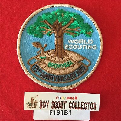 Boy Scout 1982 World Scouting 75th Anniversary Patch Brown Sea