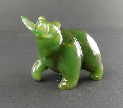 Vintage Apple Dark Green Jade Bear with Salmon Fish Carved Figurine 134g