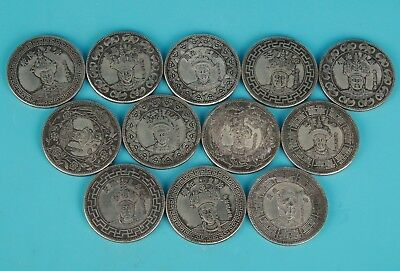 12 Vintage Chinese Silver-Plated Copper Commemorative Coin Collection Gift