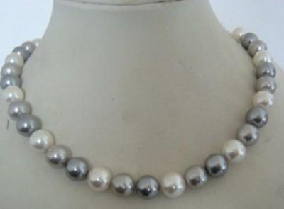 beautiful AAA+ 9-8mm tahitian white grey color pearl necklace 18 inch 14K clasp