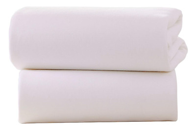 Clair de Lune Crib Cotton Jersey Flat Sheets (Pack of 2, White)