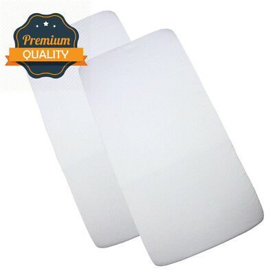BabyPrem Baby Pack of 2 Fitted Cotton Travel Cot Sheets 95 x 65cm WHITE