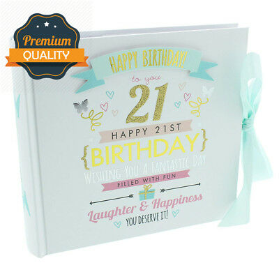 "ukgiftstoreonline Happy 21st Birthday Photo Album - Holds 80 6"" x 4"" photos"