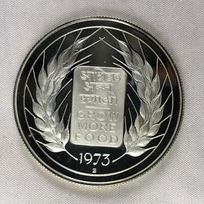 1973 India 10 Rupees Silver Proof Fao  #399