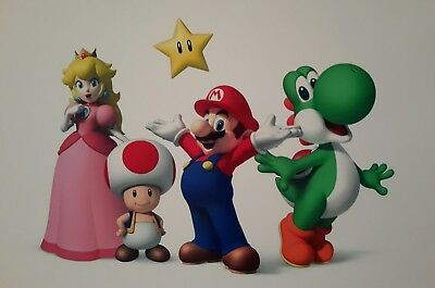 Super Mario Yoshi Princess Toad A4 Poster Picture Print A4 Wall Art Children