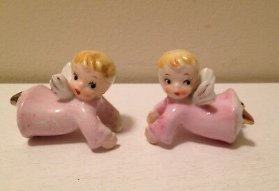 Pair Of Vintage Small Angel Candleholders