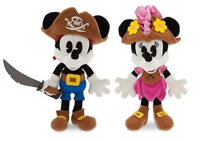 "Disney Parks Mickey Minnie & Mouse Pirate Dolls 12"" Plush Toy Set NWT Ships Free"