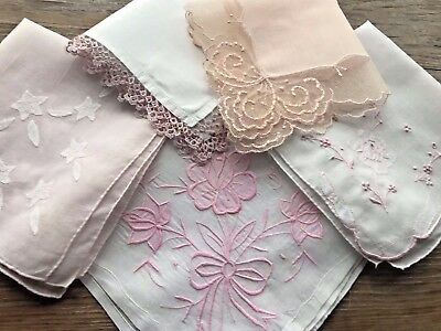 Lot of 5 Vintage Net Tatted Lace Embroidered Hankies Handkerchiefs White Pink