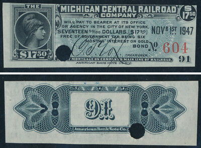 MICHIGAN CENTRAL RAILROAD Bond Coupon - ABNCo Punched MCRR