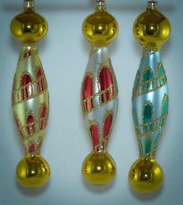 Christopher Radko Double Ball Christmas Ornament MONTEREY 93-290* SET OF 3 COLOR