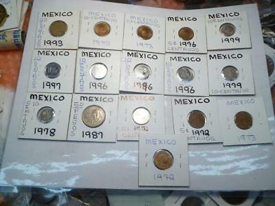 Mexico Coin Lot Mostly UNC 16 Coins Total #1