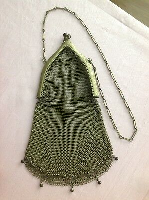 Art Deco 1920's Silver Mesh Chain Mail Flapper Handbag