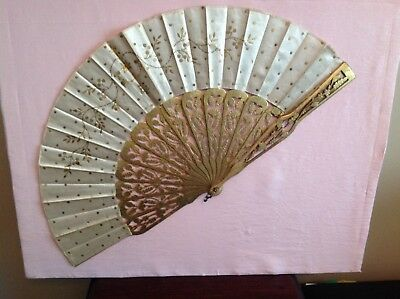 Antique 1900's Silk Chiffon Paillettes Hand Fan-Very Nice!!!