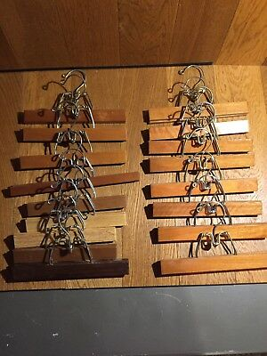 Vintage/Modern Lot of 17 Wooden Clothes Pants Wood Metal Clamp Hangers Unbranded