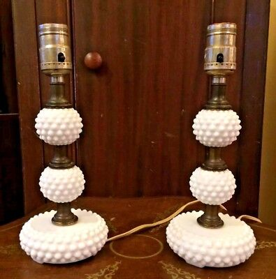 "Vintage Pair Of 11"" 3-Tiered White Milk Glass Hobnail Table Lamps"