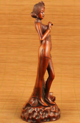 big chinese old boxwood hand carved phoenix girl statue netsuke collectable