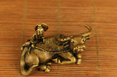 chinese old bronze hand carved ox and boy statue desk decoration ornament