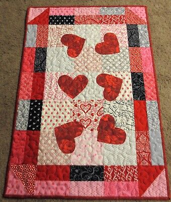 "Hand Made Quilted Table Runner ~ 18 1/2"" x 26"" ~ Red, pink, black ~ Valentine"