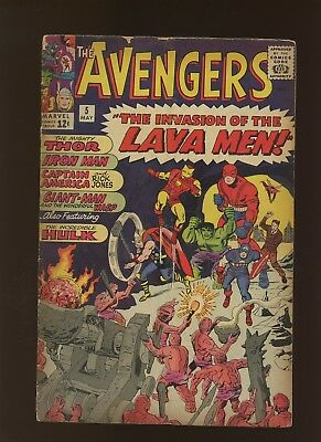 Avengers 5 FN+ 6.5 * 1 Book * Invasion of the Lava Men by Stan Lee & Jack Kirby!