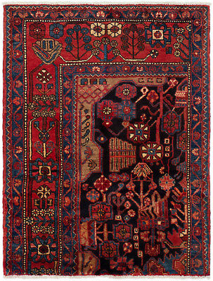 """Hand-knotted Persian Carpet 3'1"""" x 4'3"""" Persian Vintage Traditional Wool Rug"""