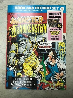 Marvel 1974 The Monster Of Frankenstein Book And 45 Rpm Record Set