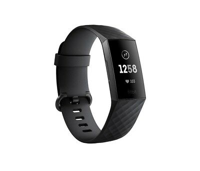 NEW Fitbit Charge 3 Black / Graphite Aluminium Health Fitness Tracker - S & L