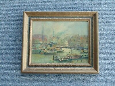 Old Vintage Antique Harbor Landscape Oil Painting Listed Mystery artist ? rare