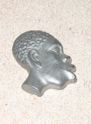 Unusual EARLY Small Flat metal Negro or African American Head Super Exaggerated
