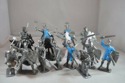 Painted Crusader Medieval Knights Cavalry Foot Soldiers 60MM Blue Silver Plastic