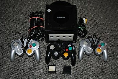 Nintendo GameCube Black Console 3 Controllers Memory Cards *READ DESCRIPTION*