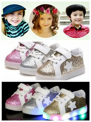 Baby Kids Boys Girls LED Shoes Stars Light Up Luminous Sport Trainers Sneakers