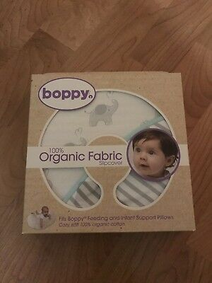 Boppy Cover 100% ORGANIC Fabric Slipcover--Birds & Hearts Gray Light Pink--NEW