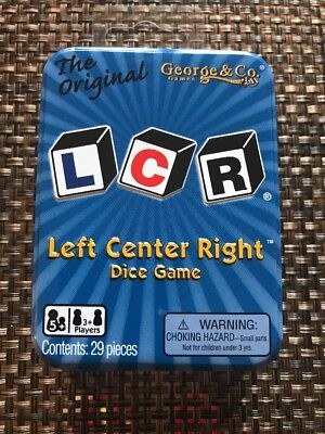 LCR® Left Center Right™ Dice Game - Blue Tin, New, Free Ship