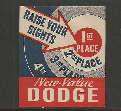 """early Auto """"New Value Dodge"""" Poster Label"""